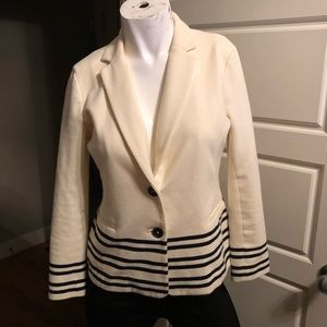 EUC J. Crew blazer off-white with black stripes S